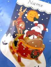 Santa's Sleigh with Reindeer and Moon, Titan No. 758 Felt Applique Stocking Kit