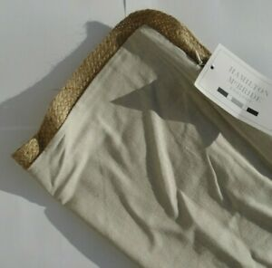 """Lovely Simple Design NATURAL JUTE / Rope Edged Linen Beige 17"""" Cushion Covers"""