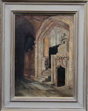 PHILIP F WALKER CHURCH INTERIOR OIL PAINTING c1890 ART X 1883-1914
