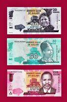 MALAWI UNC NOTES: 20 KWACHA 2015 (P63), 50 KWACHA (P58) & 100 KWACHA 2017 (P65c)