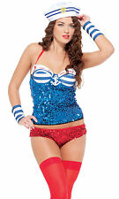 Sexy 4pc Sequin Sailor Costume Size Small/Medium