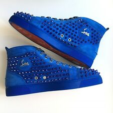 Christian Louboutin Louis Spikes Blue Navi Suede Studs Mens Sneakers 47