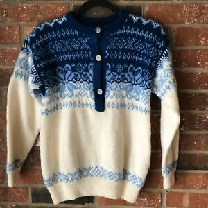 Vintage Olympic Blue Snowflake Nordic Wool Knit Sweater.   Dale of Norway?