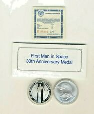 First Man in Space 30th Anniversary Silver Proof Coin & Medal Set w Coa and box