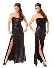 vestito donna abito lungo nero paillettes profondo spacco taglie: 40,42,44,46