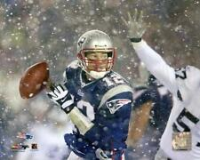 TOM BRADY PATRIOTS HISTORIC RAIDERS SNOW GAME 8X10 *RARE LICENSED PHOTO*