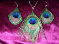 SHORT EARRINGS/BIG PENDANT PEACOCK FEATHER NECKLACE SET
