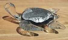 "New 7"" Hand Blown Art Glass Turtle Sculpture Figurine Statue Black Clear"