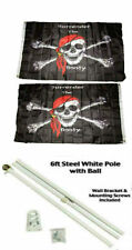 3x5 Jr Pirate Surrender The Booty 2ply Flag White Pole Kit Gold Ball Top 3'x5'