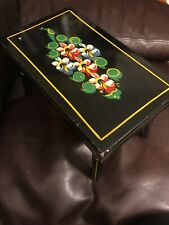 Primitive Tole Painted Ebersol Black Dutch Floral Wooden Foot Stool Bench Amish