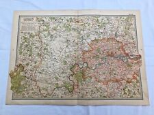 "1903 large colour fold out map titled "" london & vicinity  """