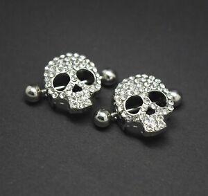 Nipple Shield Bars Jewelled Skull Body Piercing Barbell Punk Gothic 14g 18mm