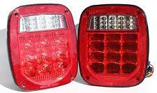 Jeep TJ CJ YJ JK Replacement Stop Turn Tail Lights w Bright Red LED's Stud Mount