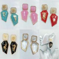 Womens Acrylic Geometric Dangle Drop Statement Ear Stud Earrings Jewelry Fashion
