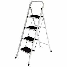 More details for 4 step ladder with safety anti-slip rubber mat tread folding iron frame diy
