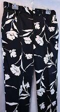 Lauren Ralph Lauren Black and White Cotton Blend Floral Pants EUC SZ 10