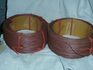 1500ft WESTERN ELECTRIC,  20  GAUGE cloth covered wire,BROWN, tiny red stripe