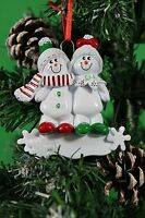 Personalised Family of 2,3,4,5 Christmas Tree Ornament - Snow Sled decoration