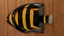 wooden tropical fish-shape coaster Hand painted black yellow gray color Cute NEW