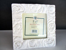 "Vintage Shabby Ceramic White 3D Roses  Photo Frame For 5"" x 5"" Photo Easel Back"