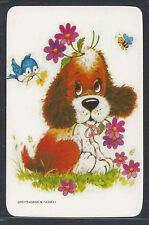 #915.098 Blank Back Swap Cards -MINT- Puppy with flowers, bluebird & bee
