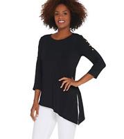 Joan Rivers Button Sleeve Jersey Knit Top w/ Asymmetric Hem - Black - Medium