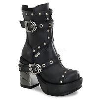 """Demonia Black 3.5"""" Chromed Heel Multi-Strap Ankle Boots 6 7 8 9 10 11 12"""