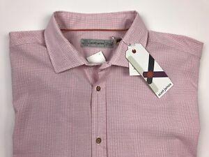 NWT Scott James Mens L/S Dress Shirt XXL/TTG Pink Small Check