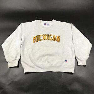 Vintage University of Michigan Wolverine Crew Neck Sweatshirt Mens L Gray USA