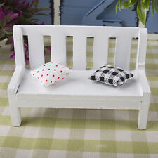 Garden Bench dollhouse miniature furniture 1/12 scale wood + cushions White
