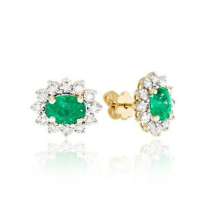 9ct Yellow Gold Diamond and Emerald Cluster Earrings 3.48gr