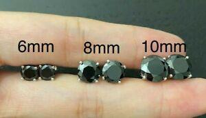 1/2CT 3CT Round Cut diamond Earrings 14K Gold Black Onyx Studs Push-Back Unisex