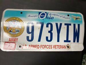 Single Ohio License Plate-Obsolete-U.S. Armed Forces Veteran Army Beautiful Ohio