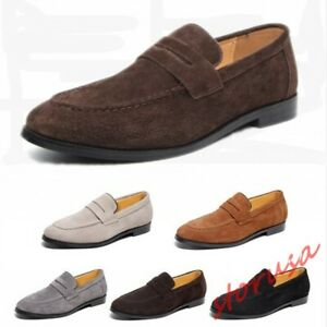 Mens British Loafers Shoes Pointed Toe Slip On Low Top Suede Driving Shoes Dress