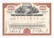 SPECIMEN - The Montana Power Company Stock Certificate