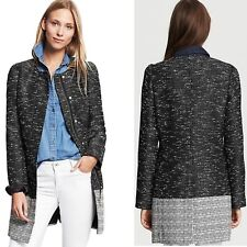 Banana Republic Black White Colorblock Cotton Tweed Jacket Coat Mac Large 16 UK