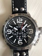 TW Steel - Men's Canteen Watch 50mm Chronograph Leather Strap.