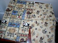"""2 FABRIC PANELS MADE IN USA """"HEARTLAND"""" BY LESLIE BECK FOR V.I.P. FABRICS"""