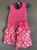 BNWT Girls Size 8 Pretty Pink/White Polka Dot Layered Ruffle Summer Dress