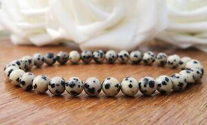 Dalmatian Jasper Stretch Bracelet, 6mm Rustic Stone Gemstone Bohemian Hippie