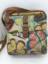 Fossil Multi-Color Butterflies Leather 3 Compartment Cross-Body Shoulder Bag