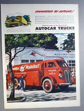 Original 1945 Autocar Truck Ad MOBIL TANKER SHOWN IN FRONT OF MOBIL STATION