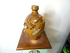 master potter randy tobias face jug,pottery,folk art  11''x7''