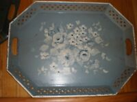 Vintage NASHCO  LARGE  BLUE  Tray  Floral Design Tin Metal HAND PAINTED COLLECT