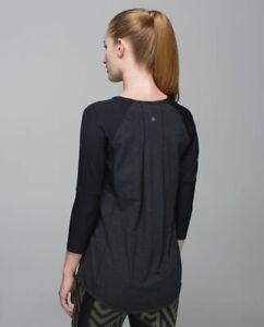 Lululemon Clip-In Long Sleeve Heathered Gray Black SZ 10 NWT $78