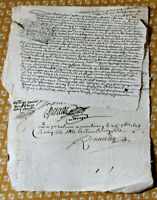 1697 LOUIS XIV royal notary signed manuscript original animal cord gut 2 docs
