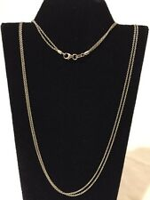 "14kt Solid White Gold Double Strand Link Chain Necklace 16"" Long Italy 3.5g 2mm"