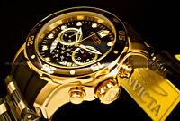 New Invicta Scuba Pro Diver 48MM Chrono 18K Gold Plated Blak DialS.S Poly Watch