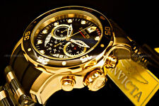 New Invicta Scuba Pro Diver 48MM Chrono 18K Gold Plated Blak DialS.S Poly Watch