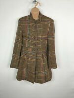 WOMENS PAPER SUN BROWN MULTICOLOURED BUTTON UP CHECK COLLARLESS COAT JACKET UK10